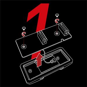 Schraube lösen, um das PCB zu entfernen