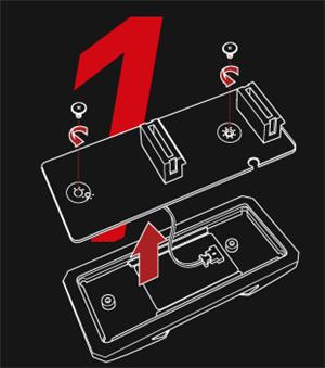 Schraube lösen, um das PCB zu entfernen und das Kabel zu trennen.